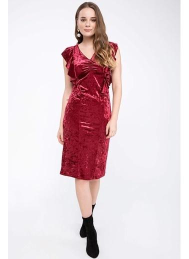 DeFacto Fırfır Detaylı Elbise Bordo